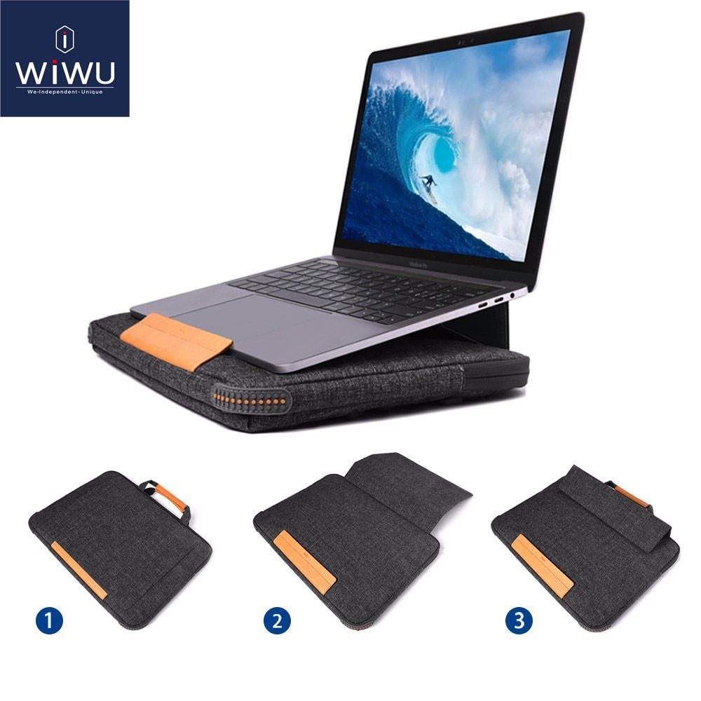 WIWU New Smart Stand Laptop Sleeve, Portable Laptop Desk, Multi-Pockets, Laptop Briefcase for MacBook Pro / MacBook Air Black/Grey