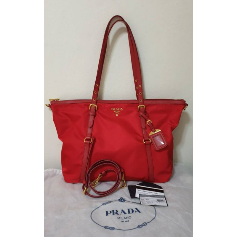 Prada มือสองของแท้ used PRADA Red Tessuto Nylon Saffiano Leather Trim Shopping Tote Bag 🔥🔥