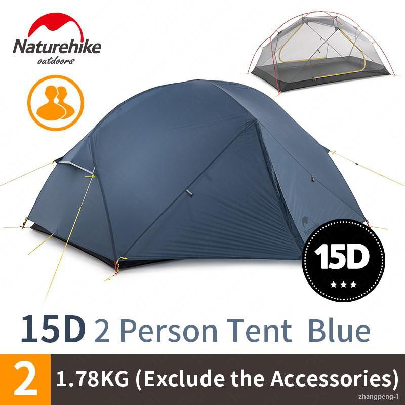✴NatureHike Mongar Camping Tent 2 Persons Ultralight 20D Nylon Aluminum Alloy Pole Double Layer Outdoor Hiking Tent NH17
