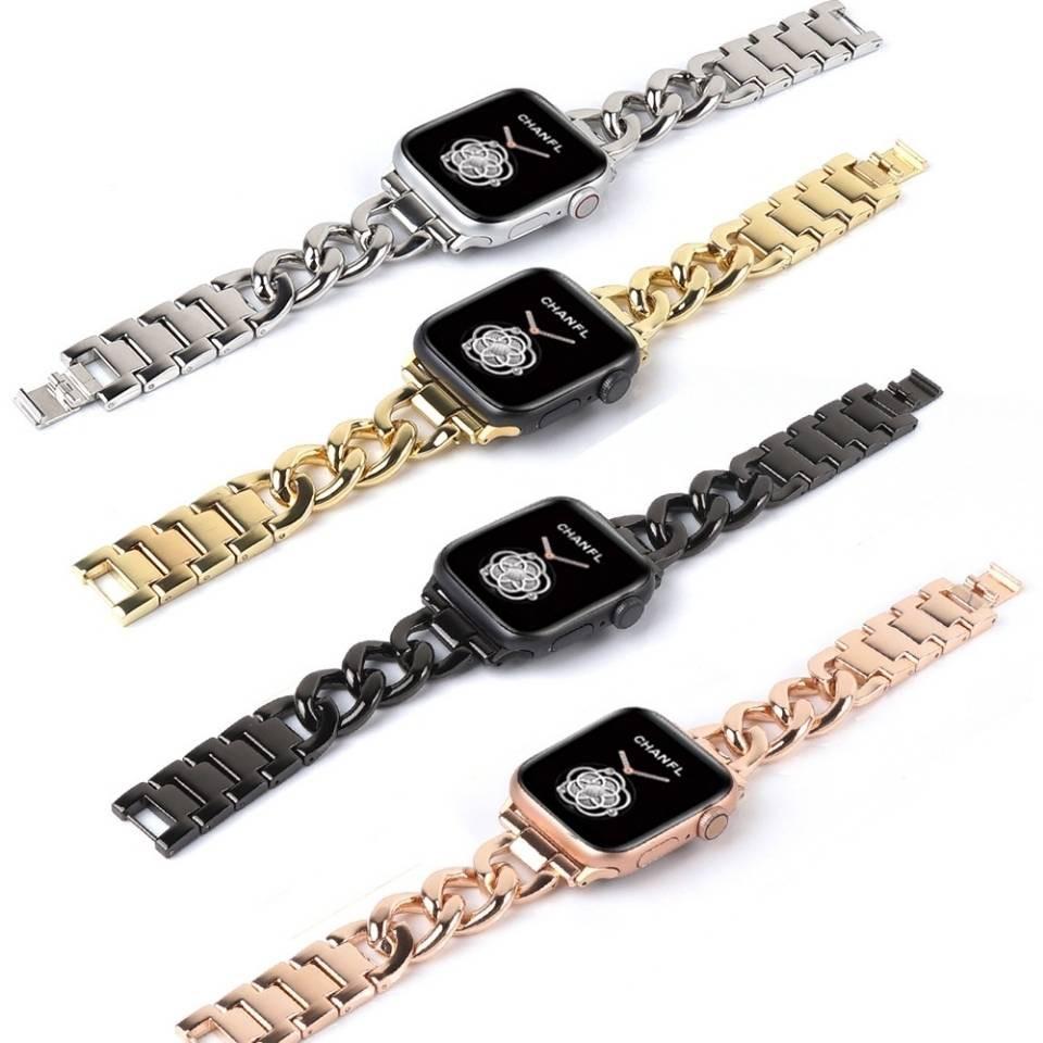 💥 สาย applewatch 🔥 เหมาะสำหรับสายนาฬิกา Apple โลหะสายนาฬิกา Applewatch ใหม่ 2345 เข็มขัดเหล็กโซ่ยีนส์แถวเดียว
