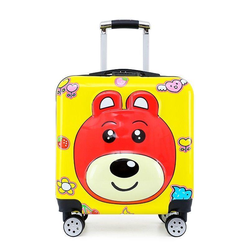 ❖♀กระเป๋ารถเข็นเด็กลายการ์ตูนเป็ดสีเหลืองขนาด 18 นิ้ว กระเป๋าเดินทางของขวัญขนาด 18 นิ้ว กระเป๋าเช็คอินนักเรียน 20 นิ้ว ก
