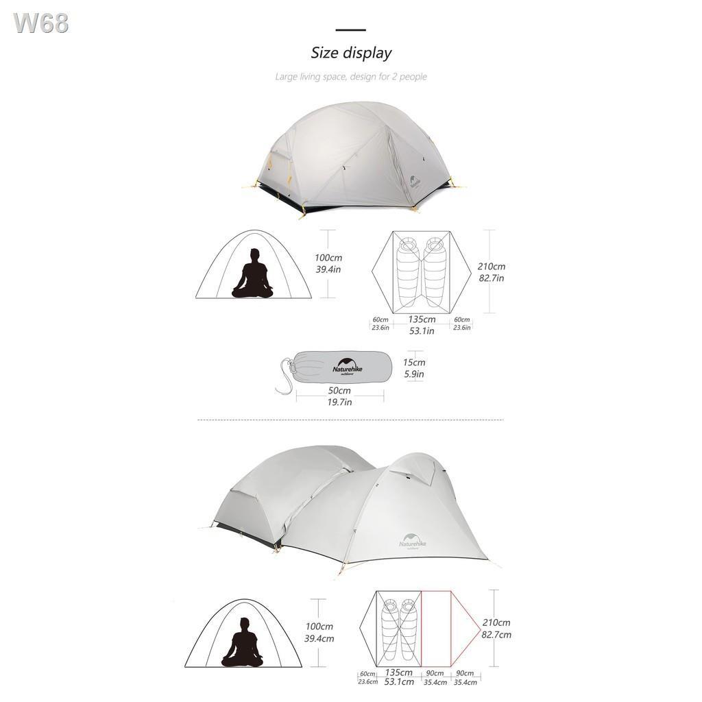 nice◕┋+พร้อมส่ง+ Naturehike Mongar 2 15D tent 3 season เต็นท์ ฤดู สำหรับ คน น้ำหนักเบา เหมาะกับ Outdoor camping