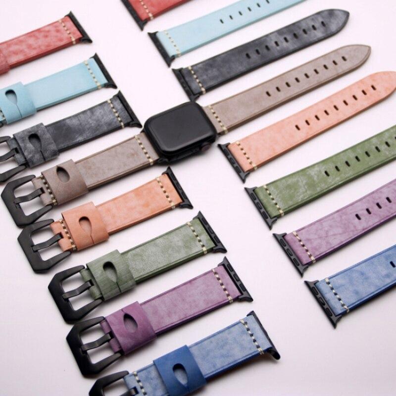 ( Apple Watch Strap ) สายนาฬิกาข้อมือหนังสําหรับ Apple Watch Series 6 / Se / 5 / 44 มม . 40 มม . 40mm 40mm