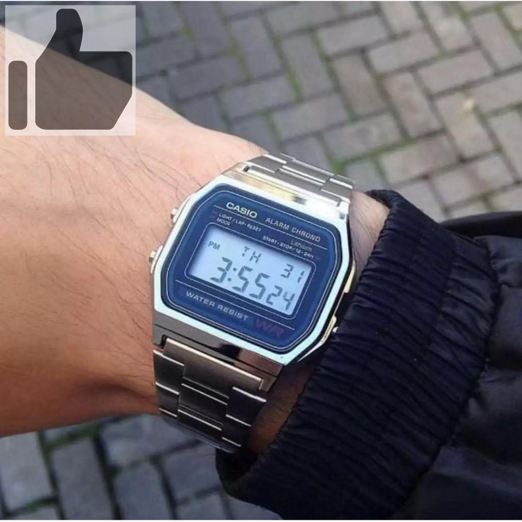 ✣▣❇Casio นาฬิกาข้อมือผู้ชาย สายสแตนเลส รุ่น A158WA-1DF - สีเงิน