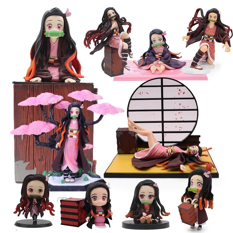Japan Anime Demon Slayer Kimetsu no Yaiba Kamado Nezuko PVC Action Figure Cute Nezuko Series Figurine Model Toy 6-20cm