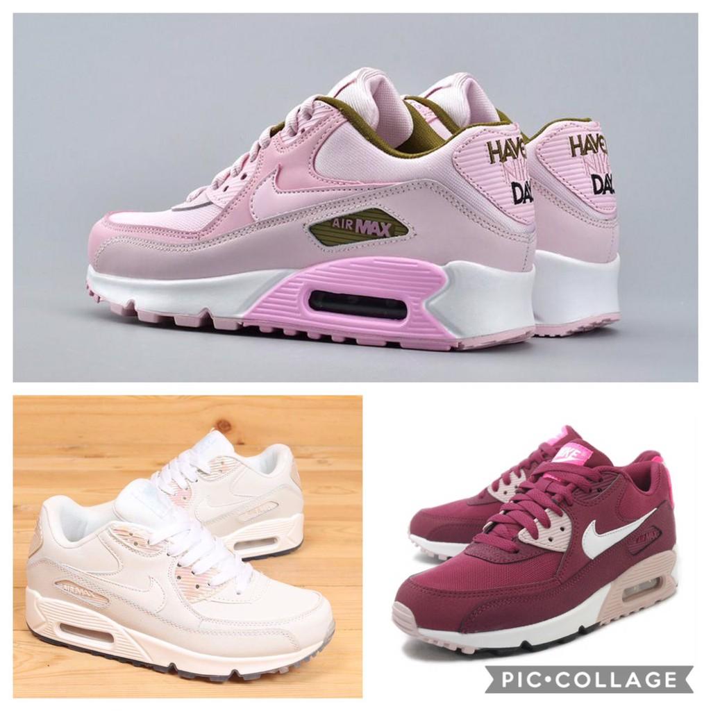 Nike Airmax 90 รองเท้ากีฬาแฟชั่นสีชมพู/สีขาว