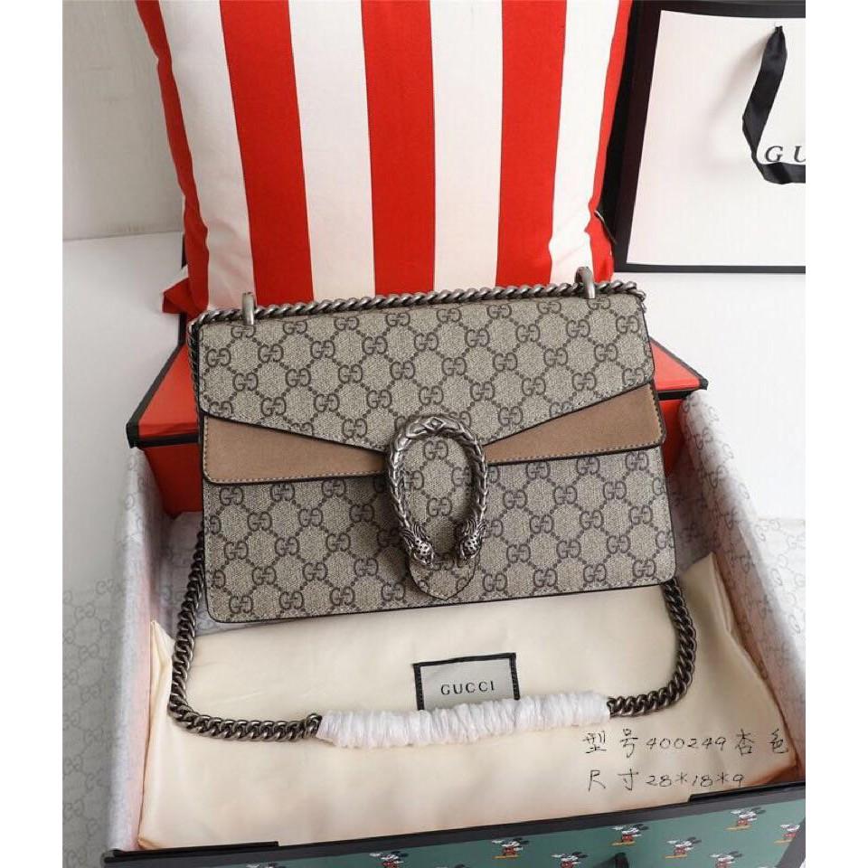 กระเป๋า Y2k-Gucci-400249 Dionysus Dionysus Color Combination Shoulder Ladies Bag Brown original กระเป๋าสะพายข้าง กระเป๋า