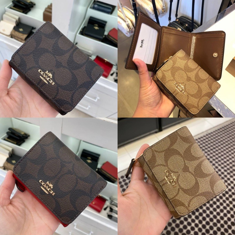 ♭COACH กระเป๋าสตางค์ใบสั้น3พับ  SNAP CARD CASE IN SIGNATURE CANVAS (COACH 7331)✾