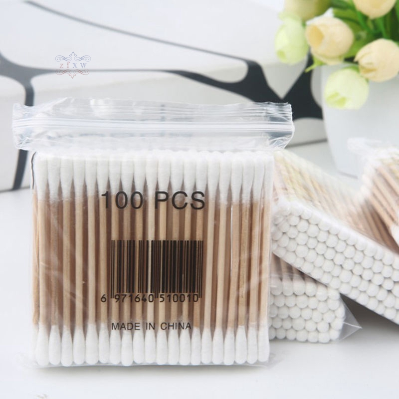 1 Roll Cotton Swabs Double Head Sticks Cotton Tipped Spiral Buds Women Make up Baby Ear Nose Clean Swabs Sticks