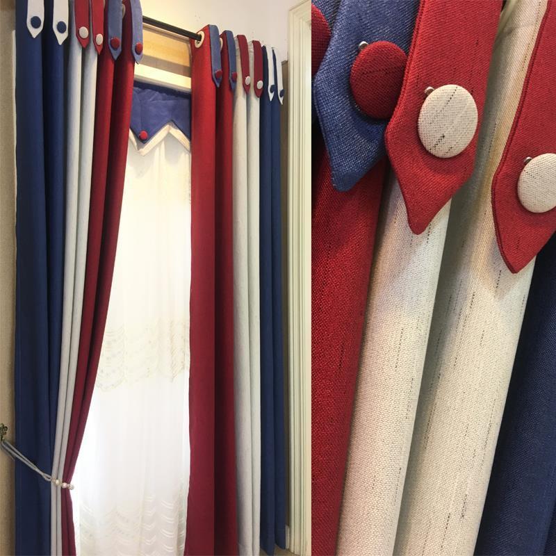 ผ้าม่านสำเร็จรูป เรียบง่ายทันสมัย สไตล์อังกฤษ ห้องนอนศึกษา เจาะแรเงา ผ้าม่านผ้าฝ้าย แฟลกซ์
