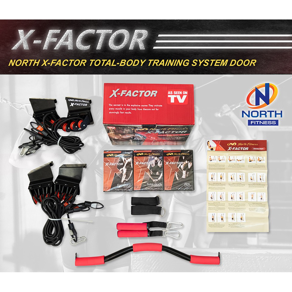 [ส่งเร็วมาก][พร้อมจัดส่ง] X-Factor By North Fitness เครื่องออกกำลังกายสายแรงต้านยางยืดติดตั้งกับประตู ออกกำลังกาย Ok12