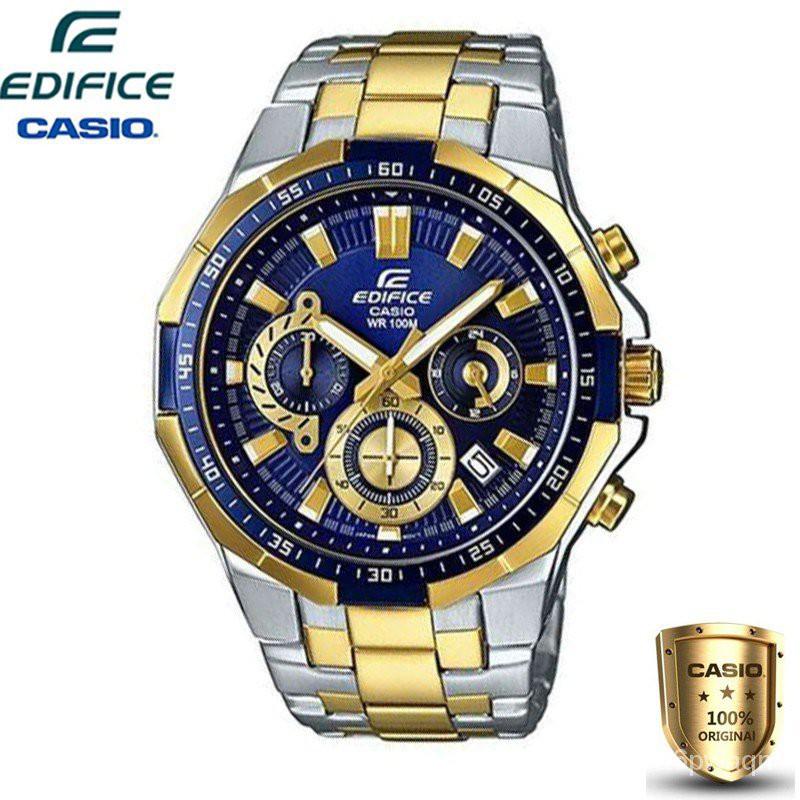 Casio Edifice นาฬิกาข้อมือผู้ชาย สีดำ สายสแตนเลส รุ่น EFR-554D-1AV (ของแท้100%)