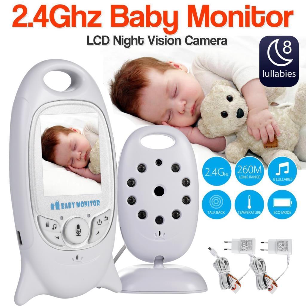 VB601 Baby Monitor 2 นิ้ว BeBe Baba เลี้ยงอิเล็กทรอนิกส์วิทยุวิดีโอพี่เลี้ยงกล้อง Night Vision ตรวจสอบอุณหภูมิ 8 เพลงกล่อมเด็ก