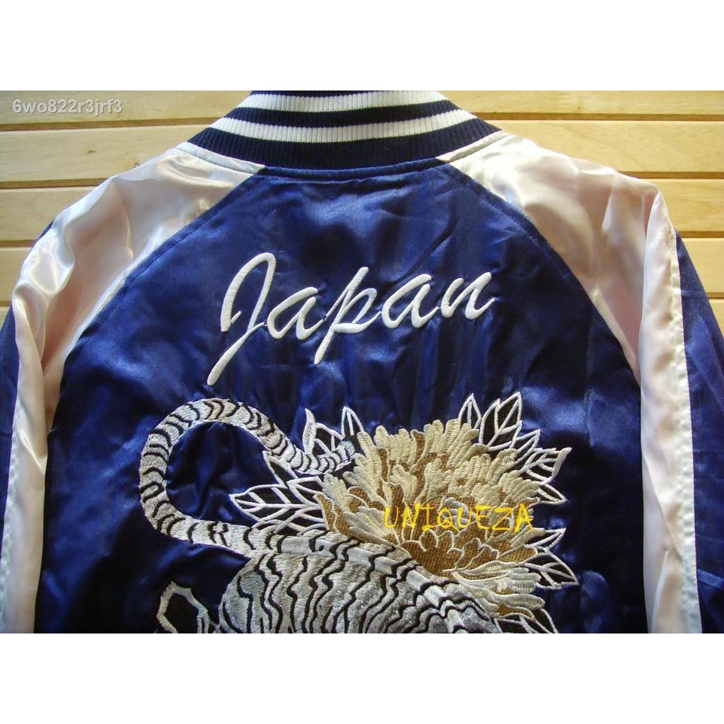 แฟชั่นผู้ชาย❀✣เสื้อแจ็คเก็ตแจ็คเก็ตตากล้องซูกาจัน Sukajan Japan Tiger Embroidered Embroidery Jacket ปักลายเสือหน้า - หล