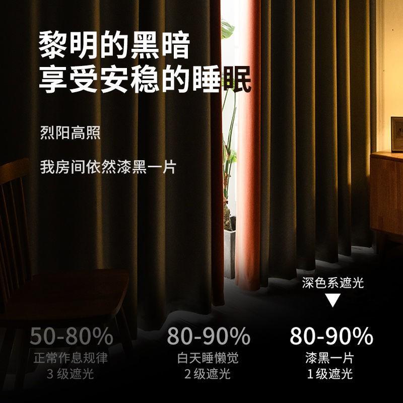 ✠Jin Chan ผ้าม่านครบชุดเจาะฟรีติดตั้งส่ง telescopic rod สำเร็จรูป blackout ประตูผ้าม่าน 2021 ใหม่ห้องนอน bay window