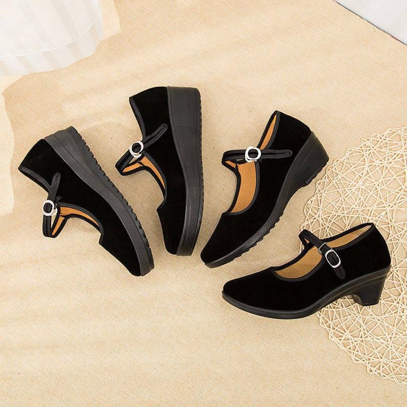 รองเท้าคัชชู รองเท้าผู้หญิง ร้องเท้า ♜รองเท้าผ้าปักกิ่งเก่า, ผู้หญิงผิวดำของผู้หญิง, ไม่ต้องกังวล, ไม่เหนื่อย, ระบายอากา