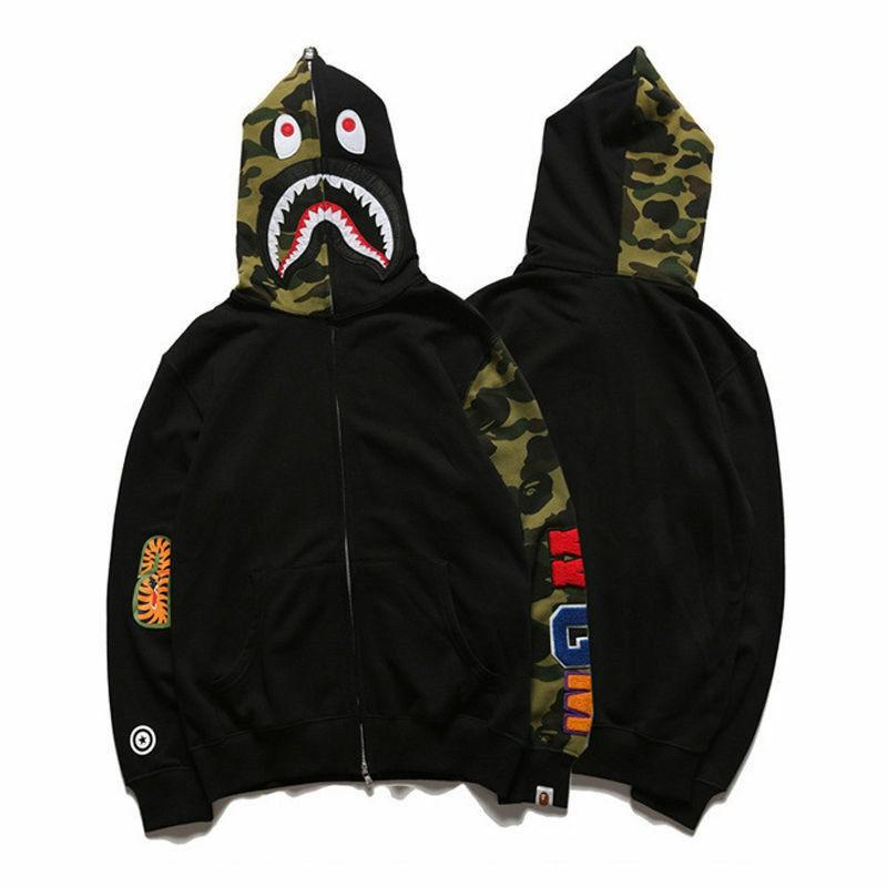 Men/'s Shark Jaw Camo A Bathing Ape BAPE Full Zipper Coat Hoodie Sweats Jacket