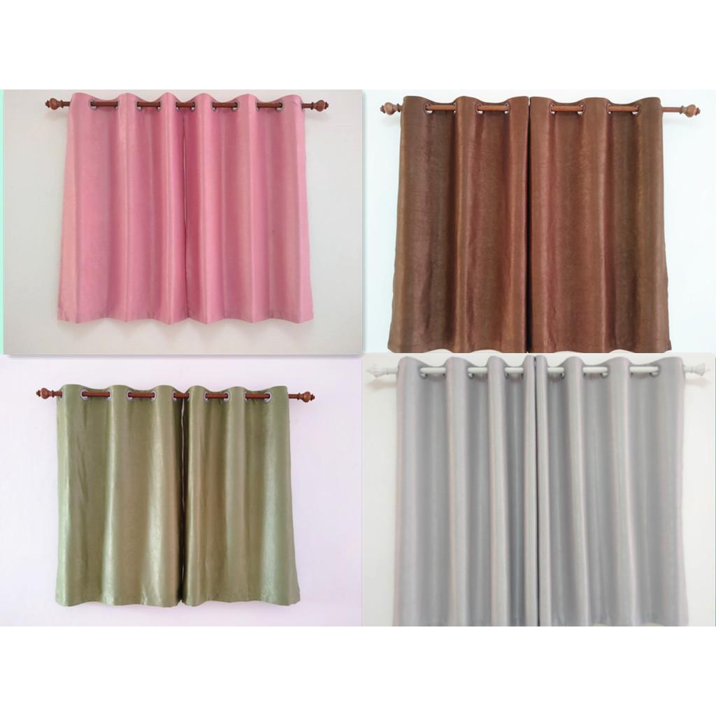 ผ้าม่านหน้าต่าง ผ้าม่านสำเร็จรูป ม่านตาไก่ หน้าต่าง เมตร กันแสง กันยูวี 80%🎁🎁