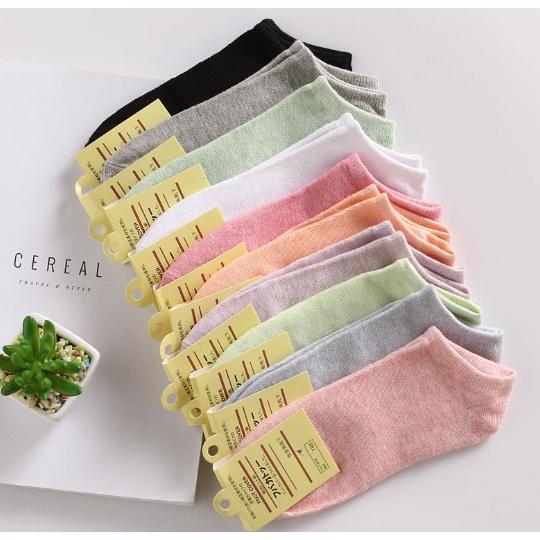 ถุงเท้าญี่ปุ่น ข้อสั้น 10 สี พาสเทล