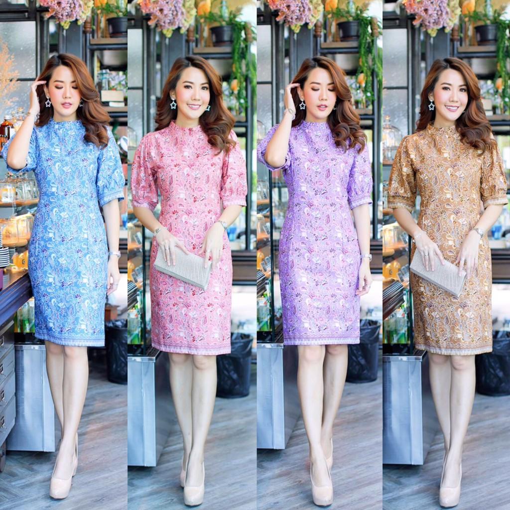เดรสผ้าปาเต๊ะ ผ้าไทยประยุกต์ ชุดกระโปรงทำงาน ผ้าฝ้าย ผ้าทอ สีม่วง ชมพู S M L XL