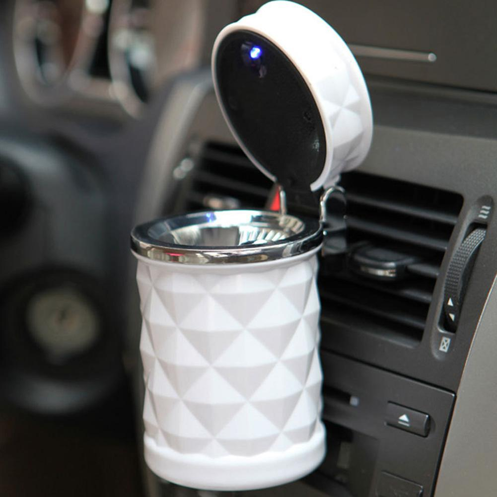 Portable LED Light Car Ashtray Universal Cigarette Cylinder Holder Car Accessories Black White Cigarette Cylinder Holder