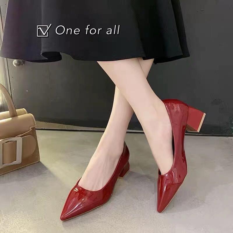 ⚡️ พร้อมส่ง⚡️TX202 รองเท้าคัชชูส้นสูง หนังแก้ว หัวแหลม สูง2นิ้ว (4สี)
