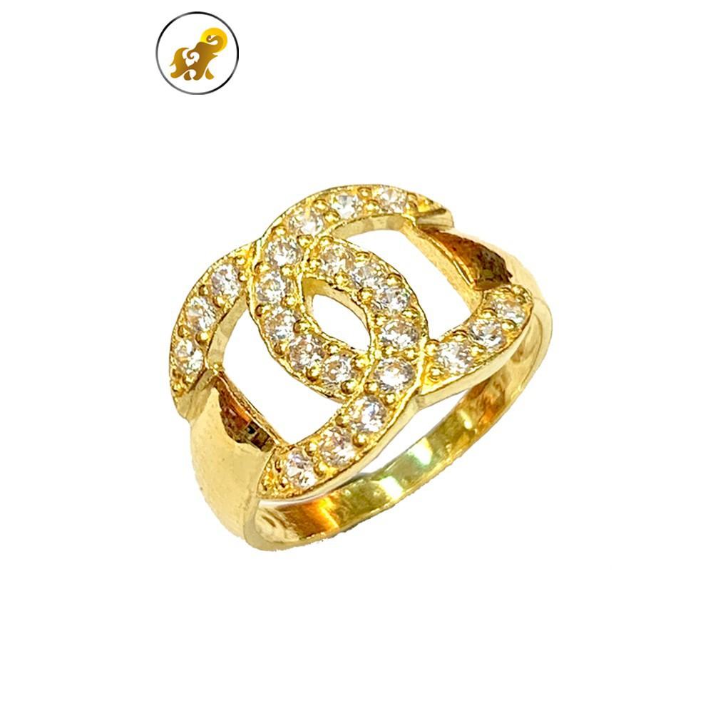 ราคาไม่แพงมาก♙☌☃PGOLD แหวนทอง 1 สลึง เพชรสวิส CC หนัก 3.8 กรัม ทองคำแท้ 96.5% มีใบรับประกัน
