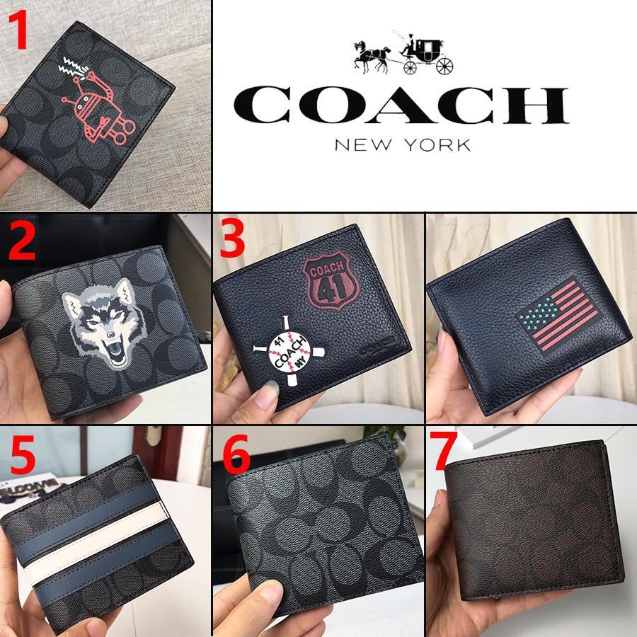 Coach กระเป๋าสตางค์ F31522 F24655 F26072 F74993 กระเป๋าสตางค์ผู้ชาย / กระเป๋าสตางค์ใบสั้น /กระเป๋าสตางค์ forever young