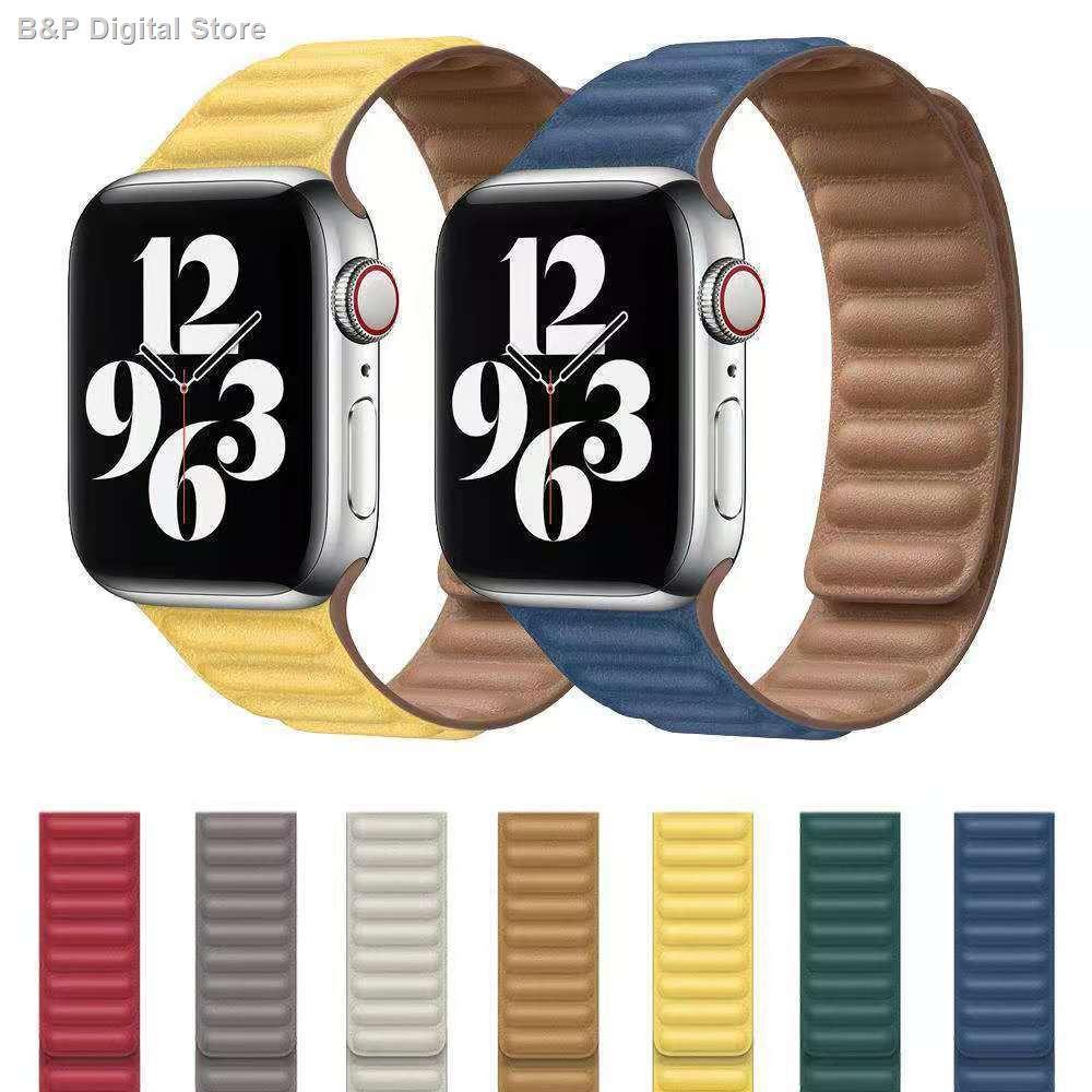 【อุปกรณ์เสริมของ applewatch】❃┅iwatch เหมาะสำหรับสายรัดข้อมือหนังสองส่วนแม่เหล็กสองสีของ Apple พร้อมห่วง