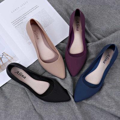 ❤️รองเท้าคัชชูผู้หญิงพื้นยางนิ่ม รองเท้ายางแบนรองเท้าลำลองผู้หญิงรองเท้าหัวแหลม