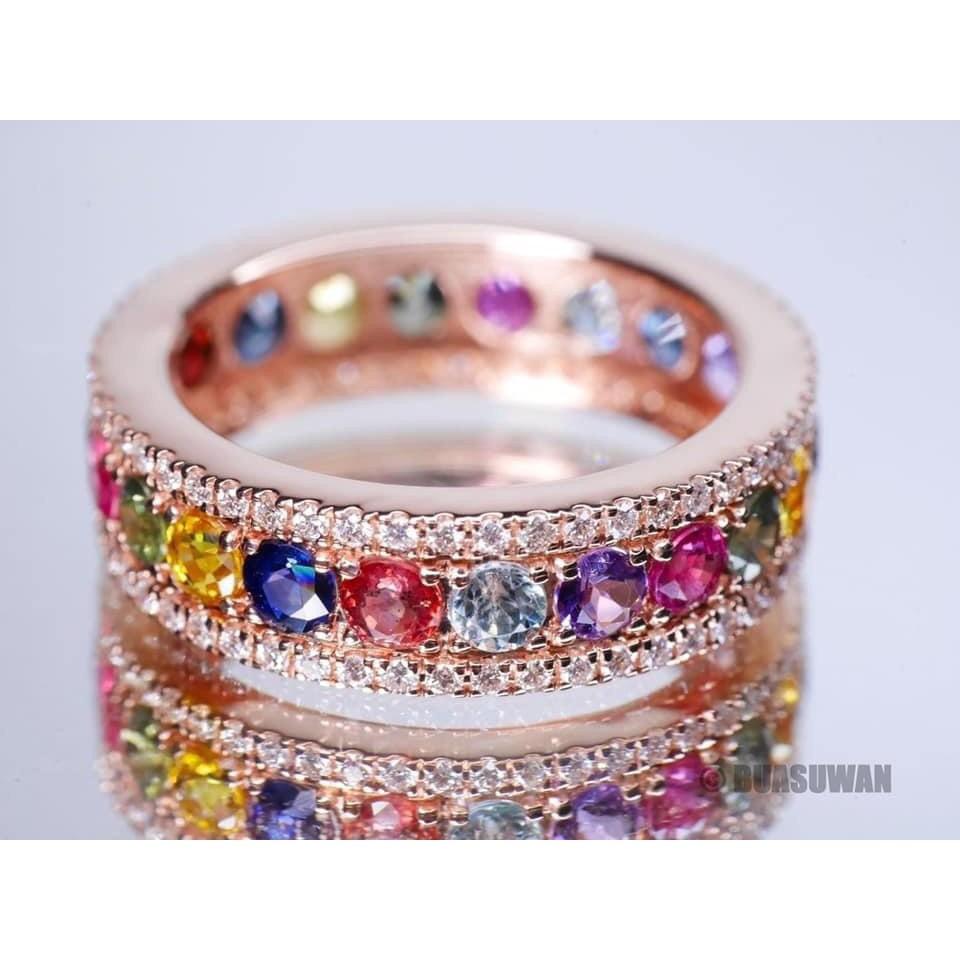 แหวนพิรอด พิงค์โกลด์ ทอง 90% น้ำหนักทอง 6.4 กรัม/เพชร 0.68 กะรัต/พลอย 3.45 กะรัต