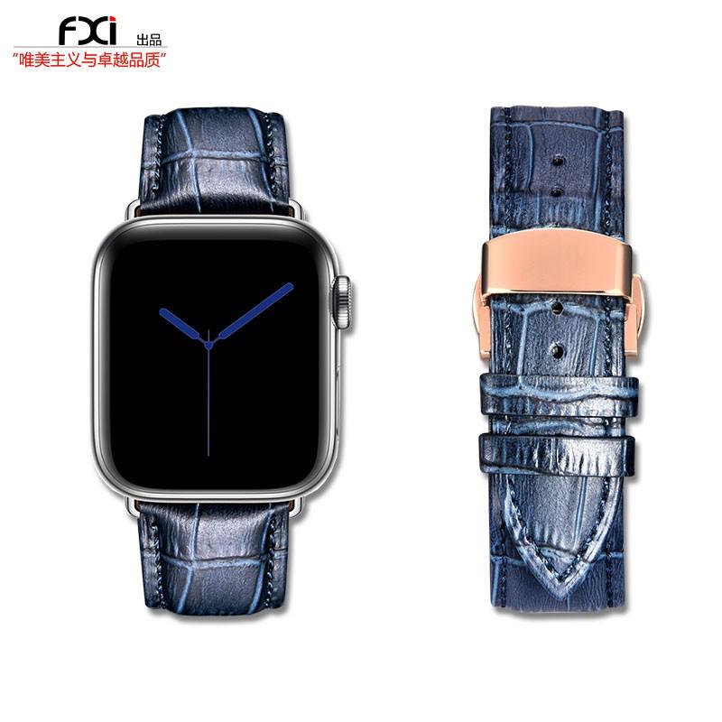 สาย applewatch✼fxi จระเข้สีน้ำเงินสาย Apple Watch ตัวเมียและ ชายชั้นหนึ่งหนัง applewatch สาย iwatch6543 รุ่น iwatch สาย