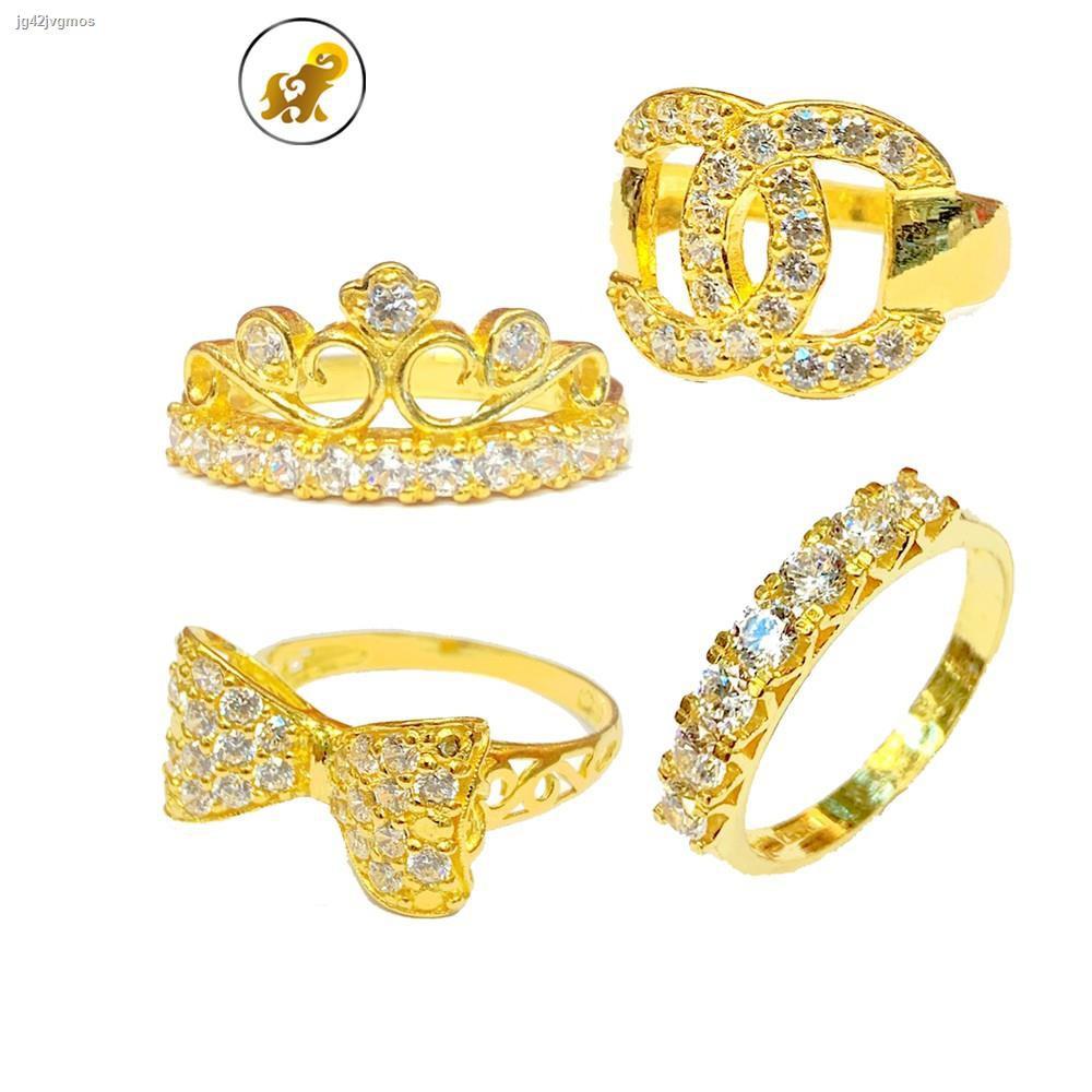 ราคาต่ำสุด♂✴PGOLD แหวนทอง 1 สลึง เพชรสวิสแฟนซี V.2 หนัก 3.8 กรัม ทองคำแท้ 96.5% มีใบรับประกัน