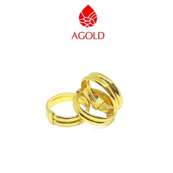 ราคาพิเศษ✺AGOLD แหวนทองคู่ ลายเกลี้ยง หนักครึ่งสลึง ทองคำแท้ 96.5