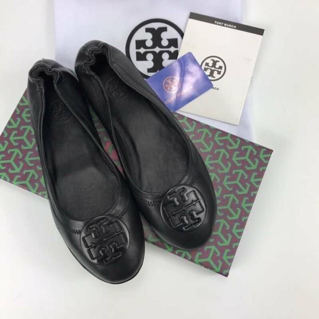 การซื้อของแท้】รองเท้าคัชชู รองเท้าคัชชูหนัง TORY BURCH BALLET FLAT SHOES Hi-end 1:1 หนังแท้