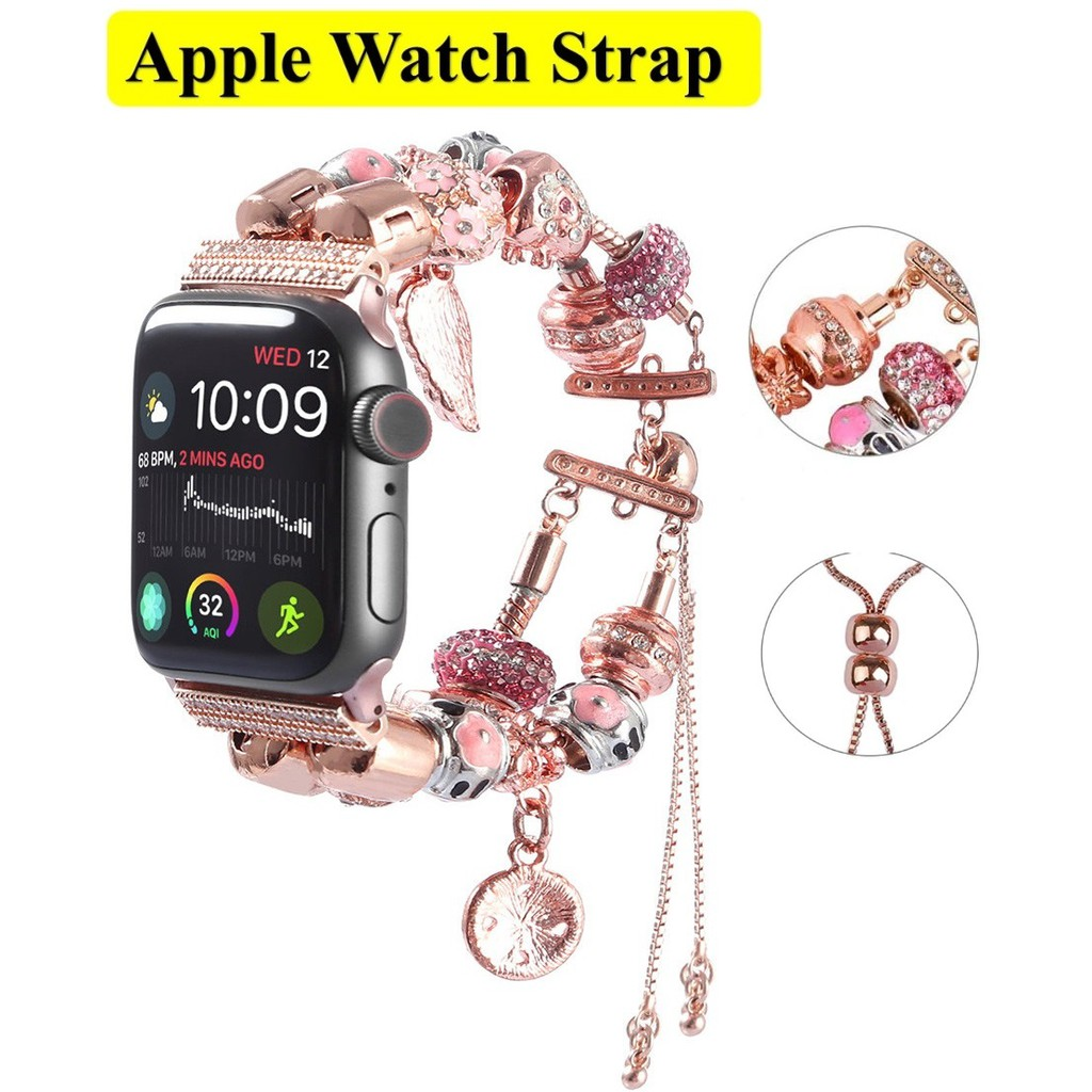 ฟุ่มเฟือย เพชรพลอย สายนาฬิกา Apple Watch Straps เหล็กกล้าไร้สนิม Luxury Jewellery สาย Applewatch Series 6 5 4 3 Stainless Steel Straps for apple watch iWatch Series6 ,Series5,Series4 ,Series3, Series2 , Apple Watch SE Watch band iwatch size 38mm 40mm 42mm