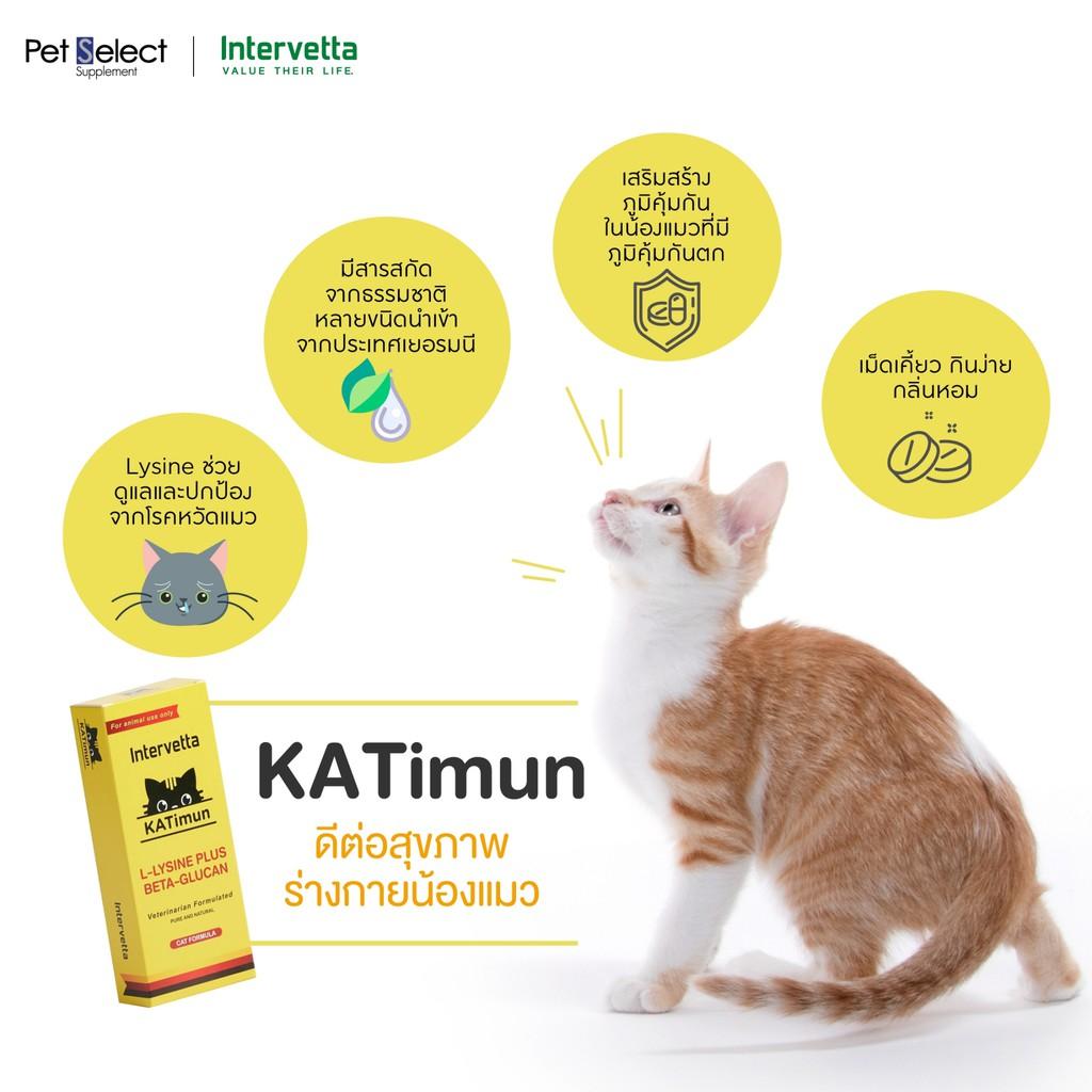 KATimun แคทติมูน L-Lysine Plus Beta-glucan [30เม็ด] วิตามินสำหรับแมว ช่วยเสริมสร้างภูมิคุ้มกันในน้องแมว