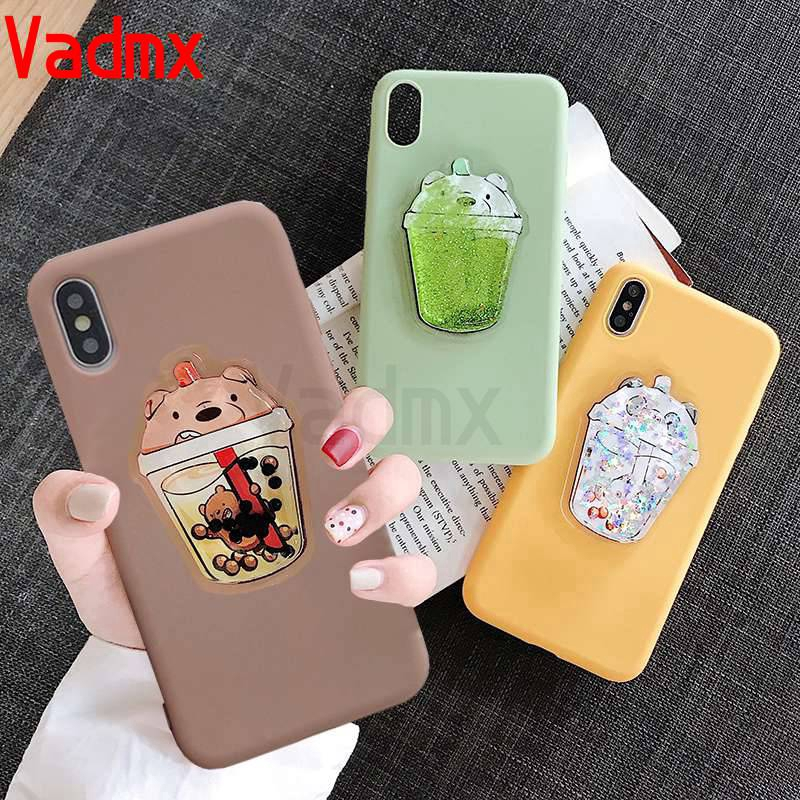 Samsung Galaxy A9 A8 A7 A6 2018 A9 Pro A5 A7 2017 J7  2016 2015 soft case Cute 3D bear Glitter sandbag phone cover