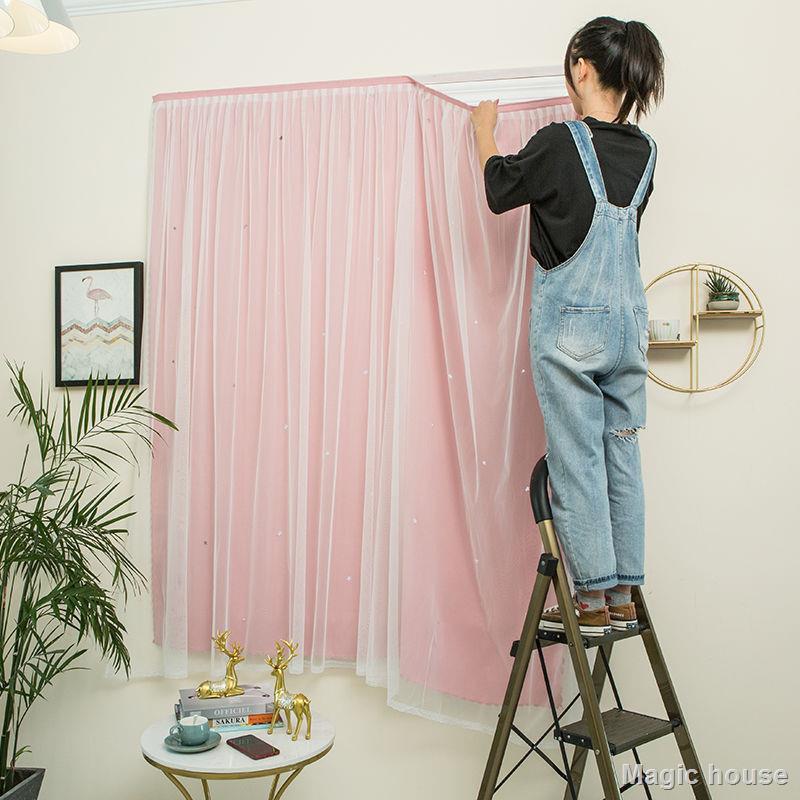 ❤Magic house❤  ผลิตภัณฑ์ในครัวเรือนผ้าม่านปิดทึบ Velcro แบบไร้รอยเจาะผ้าม่านสำเร็จรูปม่านบังแดดขนาดเล็กสำหรับเด็กหอพักห