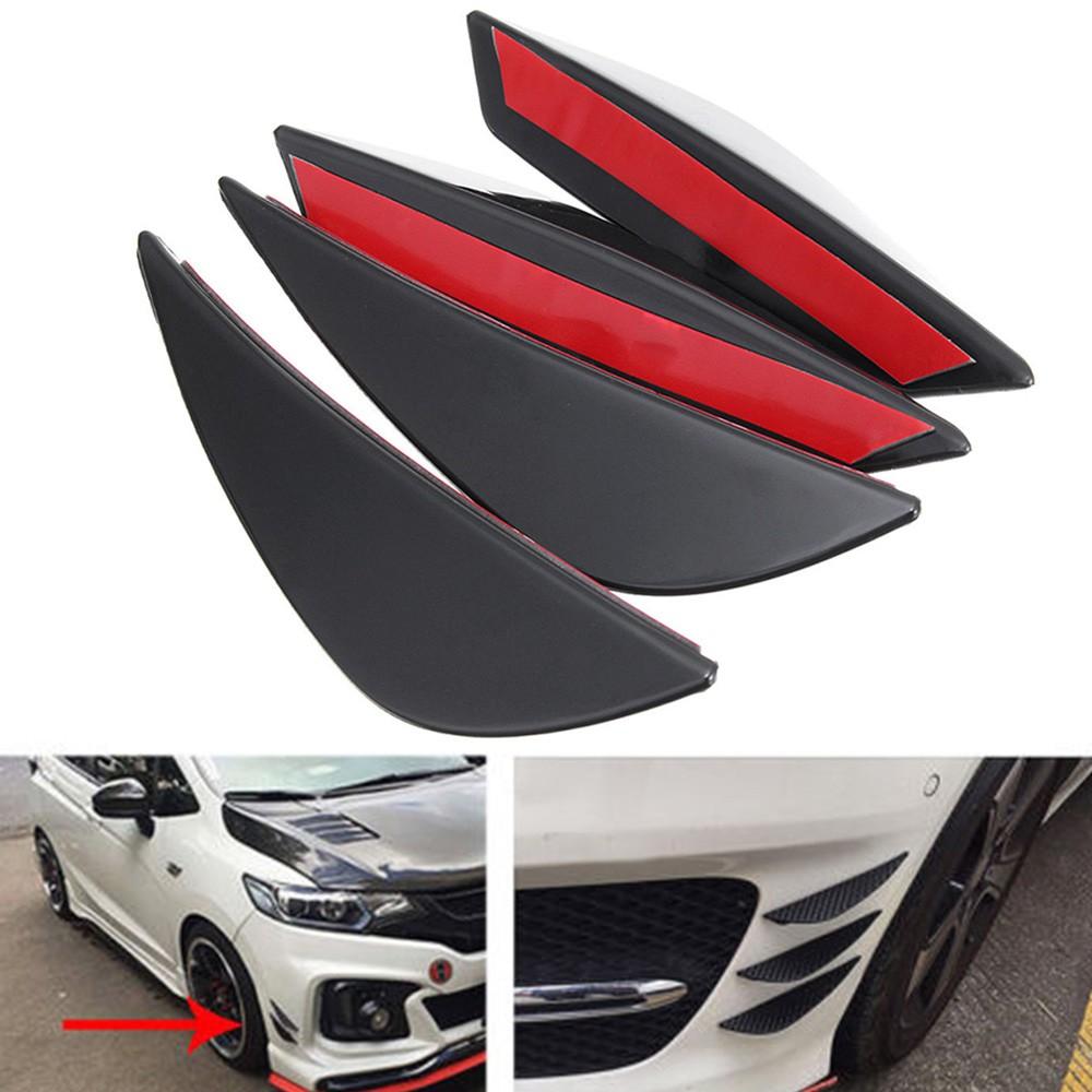 4Pcs Universal ABS Car Front Bumper Fins Lip Canards Splitter Kit Valence  Chins
