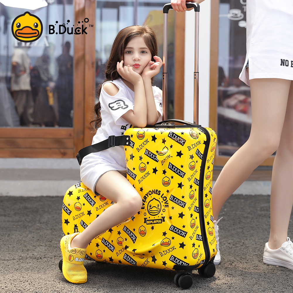 ☻ㇿกรณีรถเข็น กระเป๋าเดินทางล้อลากใบเล็กB.Duckเป็ดสีเหลืองขนาดเล็กเด็กสามารถนั่งสามารถขี่กระเป๋าล้อสากลสุทธิสีแดงทารกกรณี