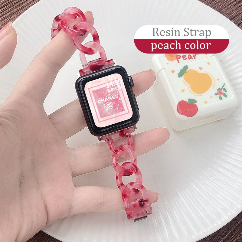 ใหม่ สายนาฬิกา Apple Watch Resin Straps เรซิน สาย Applewatch Series 6 5 4 3 2 1, Apple Watch SE Stainless Steel สายนาฬิกาข้อมือ for apple watch Series6 ,Series5,Series4 ,Series3, Series2 Watch band iwatch size 38mm 40mm 42mm 44mm
