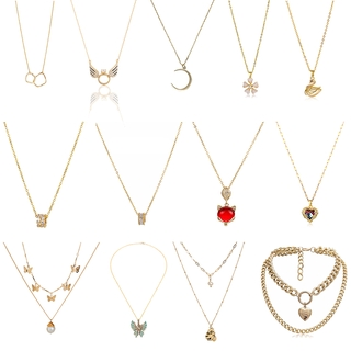 DDFI - Gold Necklace Chain Series Charm Necklace Butterfly Necklace Jewelry Chomel S925  Necklace Simplicity Temperament Female Fashion Korea Clavicle Chain Net Red H4D07