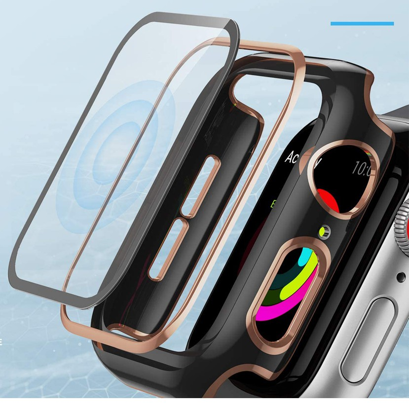 Case Tempered glass screen protector Protective case for Apple Watch se/6/5/4/3/2/1, 38mm/40mm/40mm/44mm