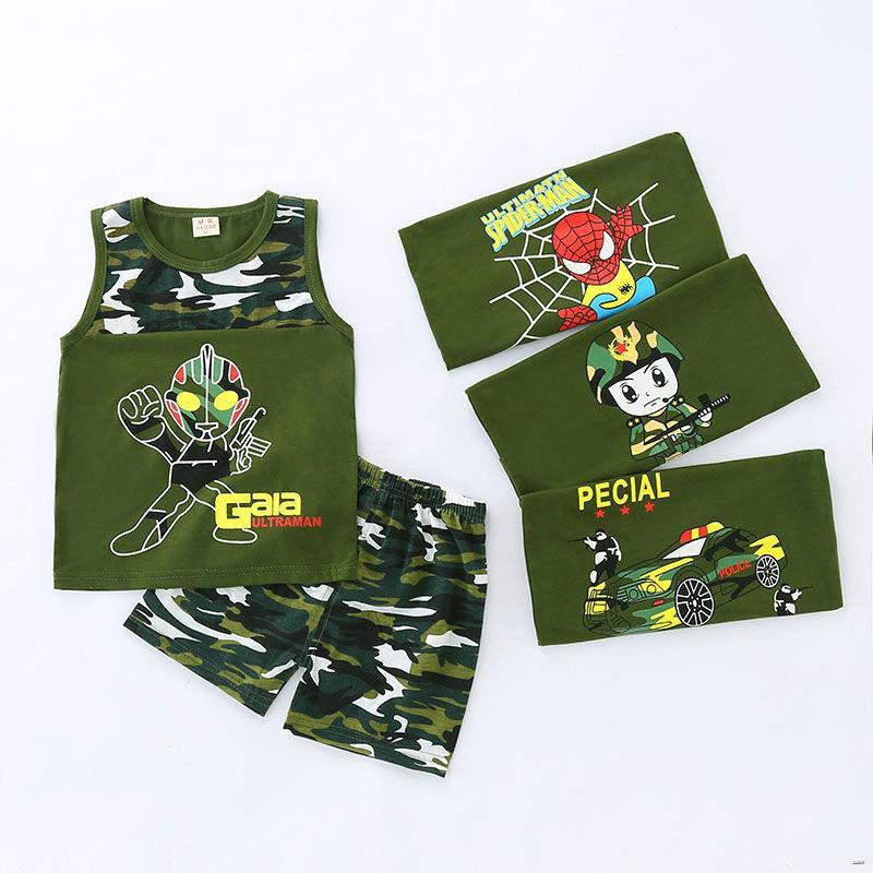 ยางยืดออกกําลังกาย❇(เสื้อผ้าเด็ก)  เสื้อผ้าเด็กชายเสื้อกล้ามลายพรางฤดูร้อนชุดเด็ก 1-2-3-4-5 ปีชุดเด็กเล็กแขนกุดฤดูร้อน