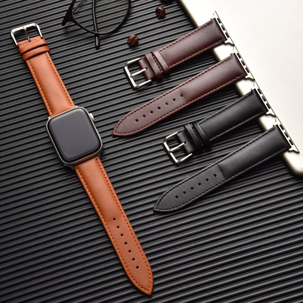 สาย applewatch สายนาฬิกา applewatch Genuine Leather Strap for Apple Watch Series 5 4 3 2 1 Replacement Accessories for i
