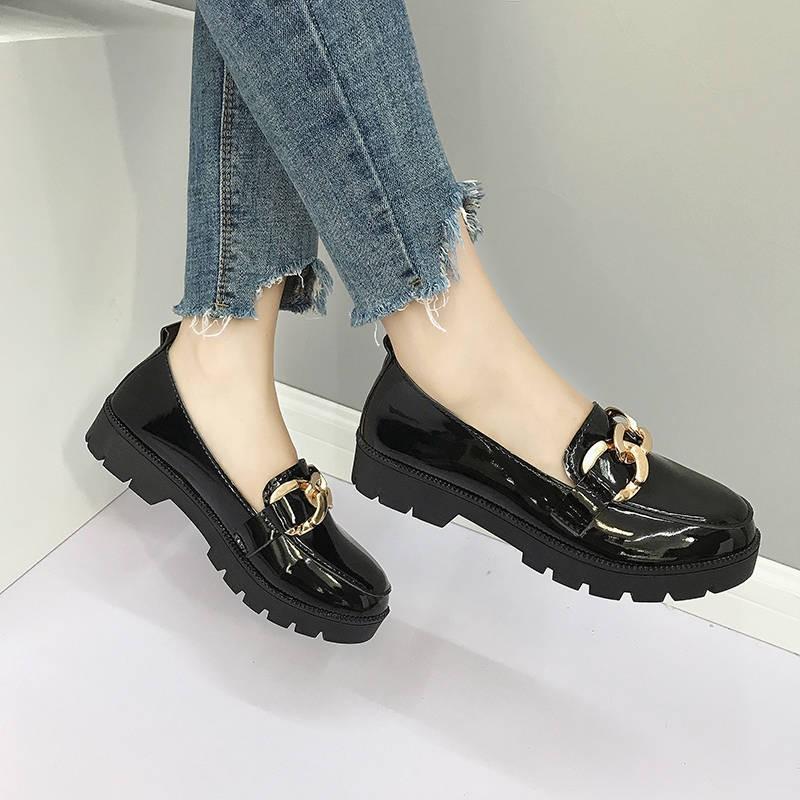 รองเท้าคัชชู ร้องเท้า รองเท้าผู้หญิง ♧รองเท้าเดี่ยวแบนหญิงฤดูใบไม้ผลิเวอร์ชั่นเกาหลีของงานสีดำรองเท้าหนังอังกฤษ 41 ข้อเท
