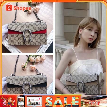 Spot Gucci Dionysus 2021 กระเป๋าสะพายข้างแฟชั่นผู้หญิงหัวเข็มขัดรัดอาน