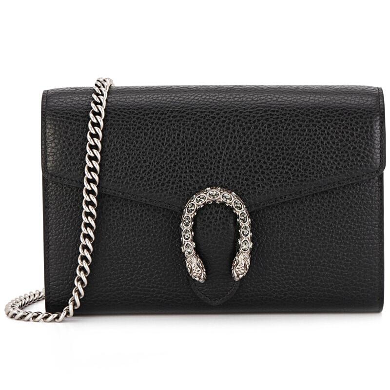 สกุชชี่ GUCCI ของผู้หญิงDIONYSUSชุดหนังสีดำแฟชั่นกระเป๋าสะพายโซ่มินิMessengerได้ 401231 CAOGN 8176