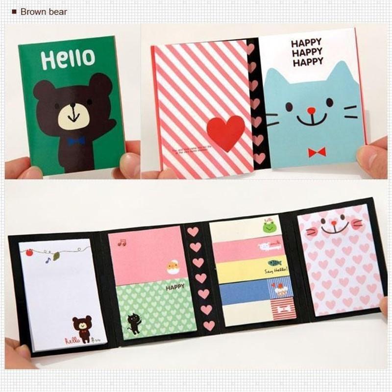 4 Folding Memo Pad Kawaii Sticker Refrigerator Books Labels Sticky Notes Animal
